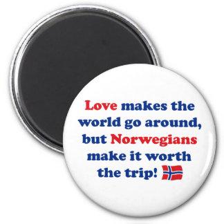 Noruegos del amor imán redondo 5 cm