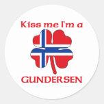 Noruegos personalizada me besan que soy Gundersen Etiqueta Redonda