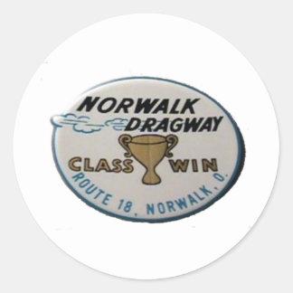 Norwalk Dragway Pegatina Redonda