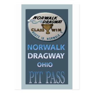 Norwalk Dragway Pit Pass Postcard