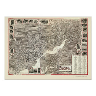 Norwalk, mapa panorámico del CT - 1899 Póster