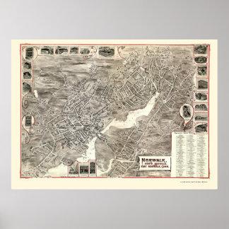 Norwalk, mapa panorámico del CT - 1899 Póster