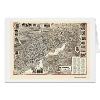 Norwalk, mapa panorámico del CT - 1899 Tarjeta