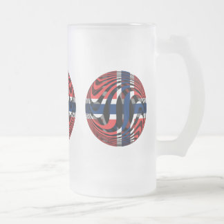 Norway #1 16 oz frosted glass beer mug