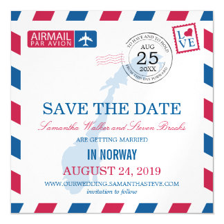 Norway Airmail Save the Date Magnetic Card
