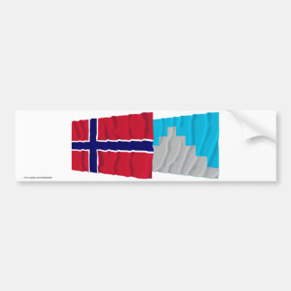 Norway and Akershus waving flags Bumper Stickers