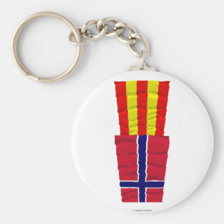 Norway and Aust-Agder waving flags Keychain