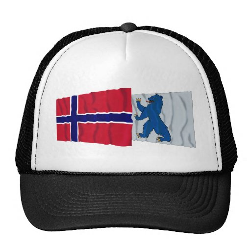 Norway and Buskerud waving flags Mesh Hat