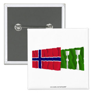 Norway and Hedmark waving flags 2 Inch Square Button