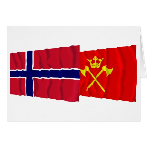 Norway and Hordaland waving flags Cards