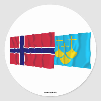 Norway and Møre og Romsdal waving flags Classic Round Sticker