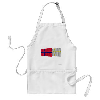 Norway and Nord-Trøndelag waving flags Adult Apron