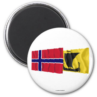 Norway and Nordland waving flags 2 Inch Round Magnet