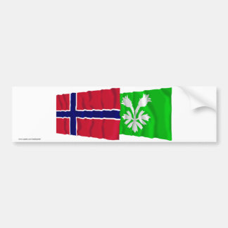 Norway and Oppland waving flags Bumper Stickers