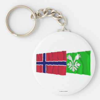 Norway and Oppland waving flags Keychain