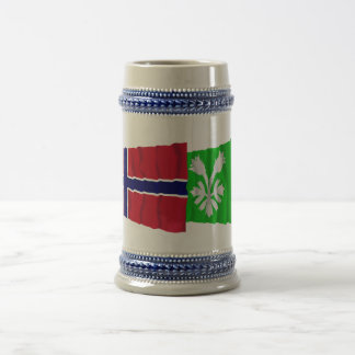 Norway and Oppland waving flags 18 Oz Beer Stein