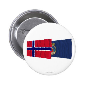 Norway and Oslo waving flags 2 Inch Round Button