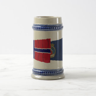 Norway and Oslo waving flags 18 Oz Beer Stein