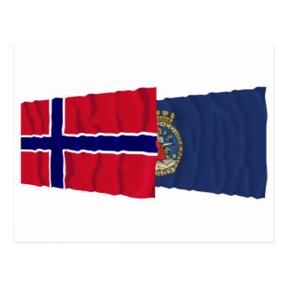 Norway and Oslo waving flags Postcard