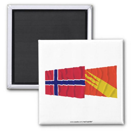 Norway and Østfold waving flags 2 Inch Square Magnet