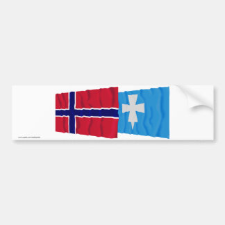 Norway and Rogaland waving flags Bumper Stickers