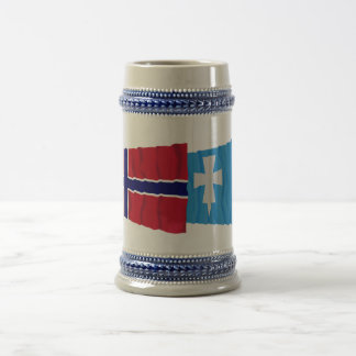 Norway and Rogaland waving flags 18 Oz Beer Stein