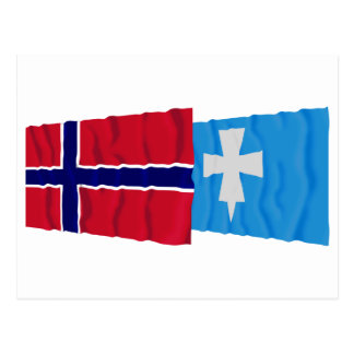 Norway and Rogaland waving flags Postcard
