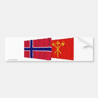 Norway and Sør-Trøndelag waving flags Bumper Sticker