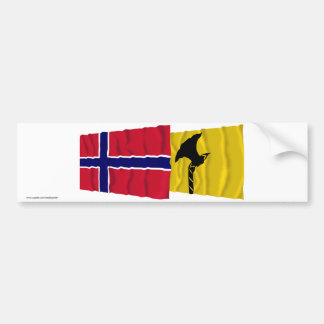 Norway and Telemark waving flags Bumper Stickers
