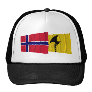Norway and Telemark waving flags Mesh Hats