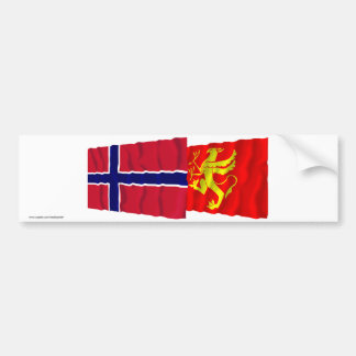 Norway and Troms waving flags Bumper Stickers
