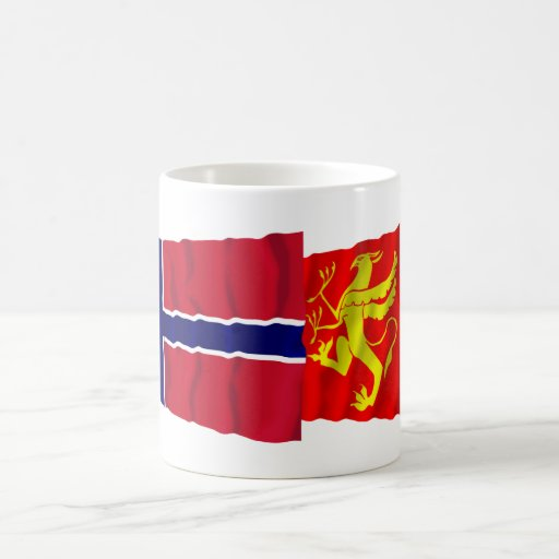 Norway and Troms waving flags Classic White Coffee Mug
