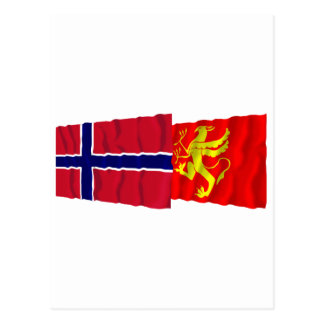 Norway and Troms waving flags Postcard