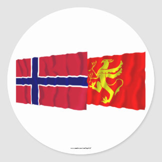 Norway and Troms waving flags Stickers