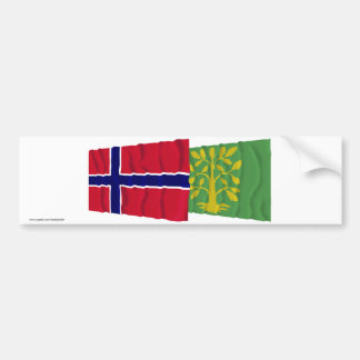 Norway and Vest-Agder waving flags Bumper Sticker