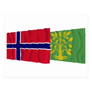 Norway and Vest-Agder waving flags Postcard