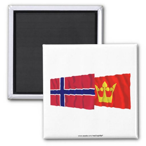 Norway and Vestfold waving flags 2 Inch Square Magnet