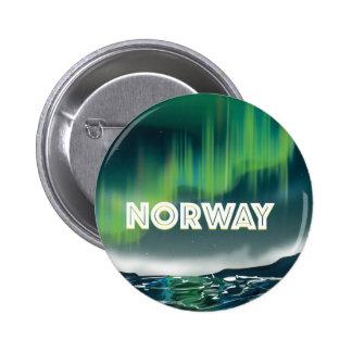 Norway Aurora Northern Lights Travel Poster Button