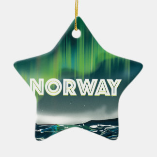 Norway Aurora Northern Lights Travel Poster Ceramic Ornament