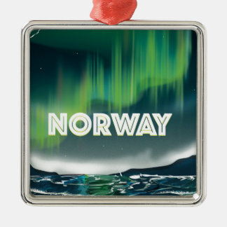 Norway Aurora Northern Lights Travel Poster Metal Ornament