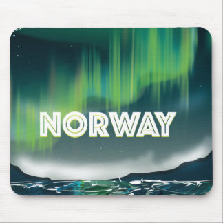 Norway Aurora Northern Lights Travel Poster Mouse Pad