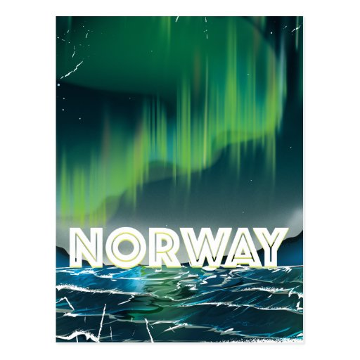 norway aurora northern lights travel poster postcard zazzle. Black Bedroom Furniture Sets. Home Design Ideas