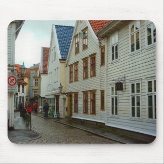 Norway, Bergen, Cobbled street Mouse Pad