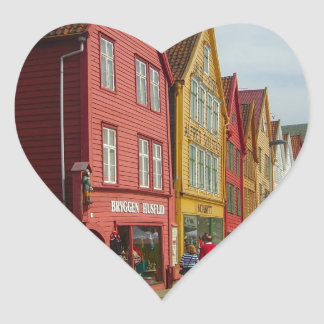 Norway, Bergen,painted houses on the waterfront Heart Sticker