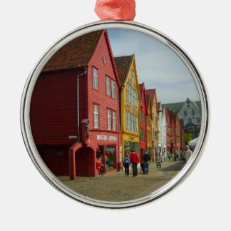 Norway, Bergen,painted houses on the waterfront Metal Ornament