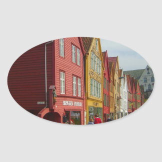 Norway, Bergen,painted houses on the waterfront Oval Stickers