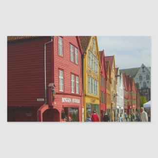 Norway, Bergen,painted houses on the waterfront Rectangle Stickers