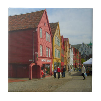 Norway, Bergen,painted houses on the waterfront Tile