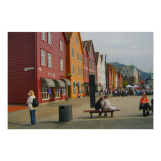 Norway, Bergen, Traditional painted houses Poster
