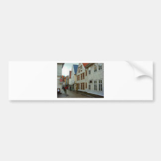 Norway, Bergen, wooden houses and cobbles Bumper Sticker